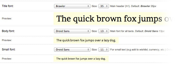 Fonts chooser